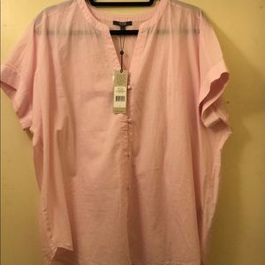 Pink and white pin striped boxy over-sized shirt